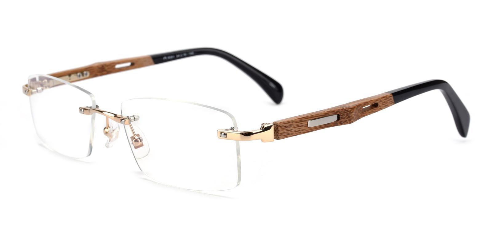 Panda-Gold-Rectangle-Combination / Titanium-Eyeglasses-detail
