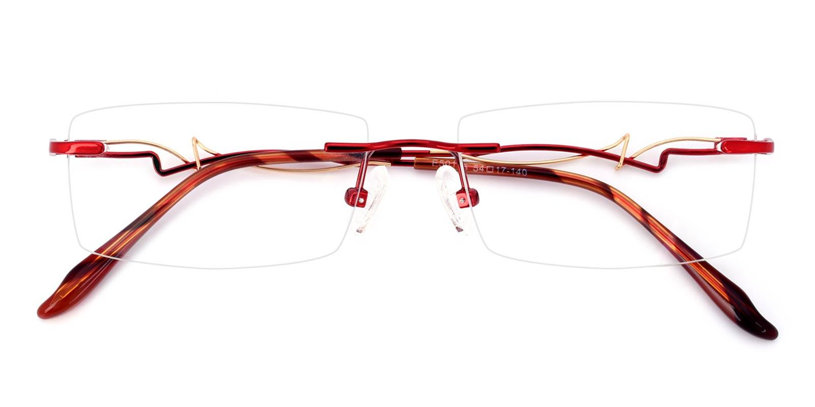Mind-Red-Rectangle-Metal-Eyeglasses-detail