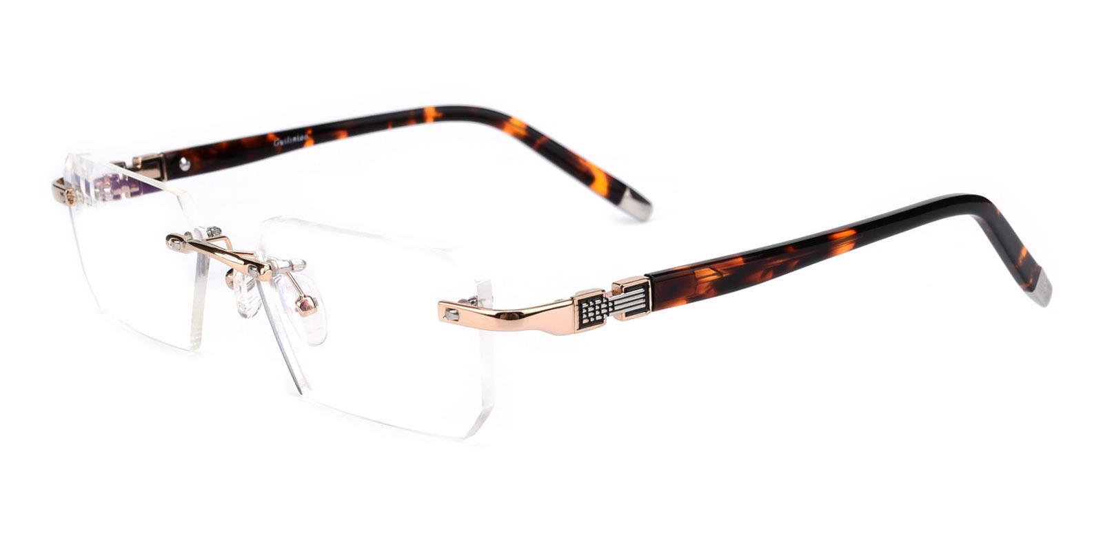 Answer-Gold-Rectangle-Metal / Acetate-Eyeglasses-detail
