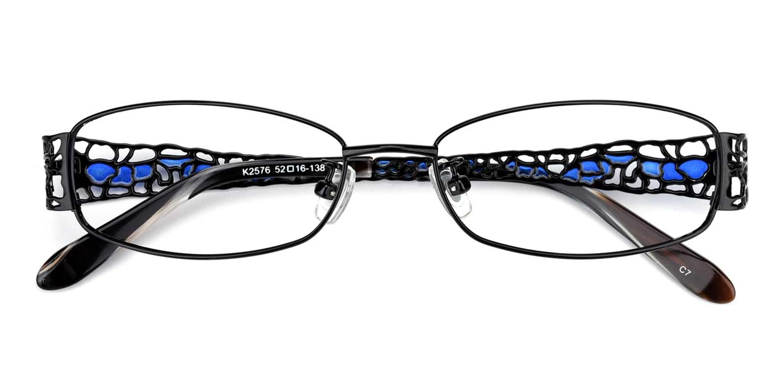 Spider-Black-Rectangle-Metal-Eyeglasses-detail