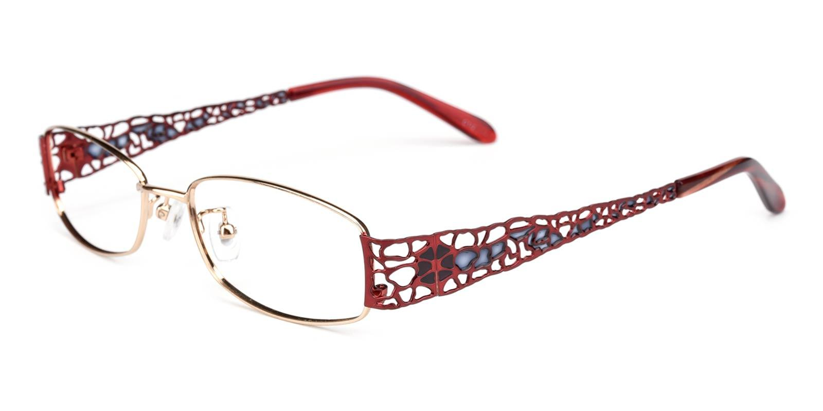 Spider-Red-Rectangle-Metal-Eyeglasses-detail