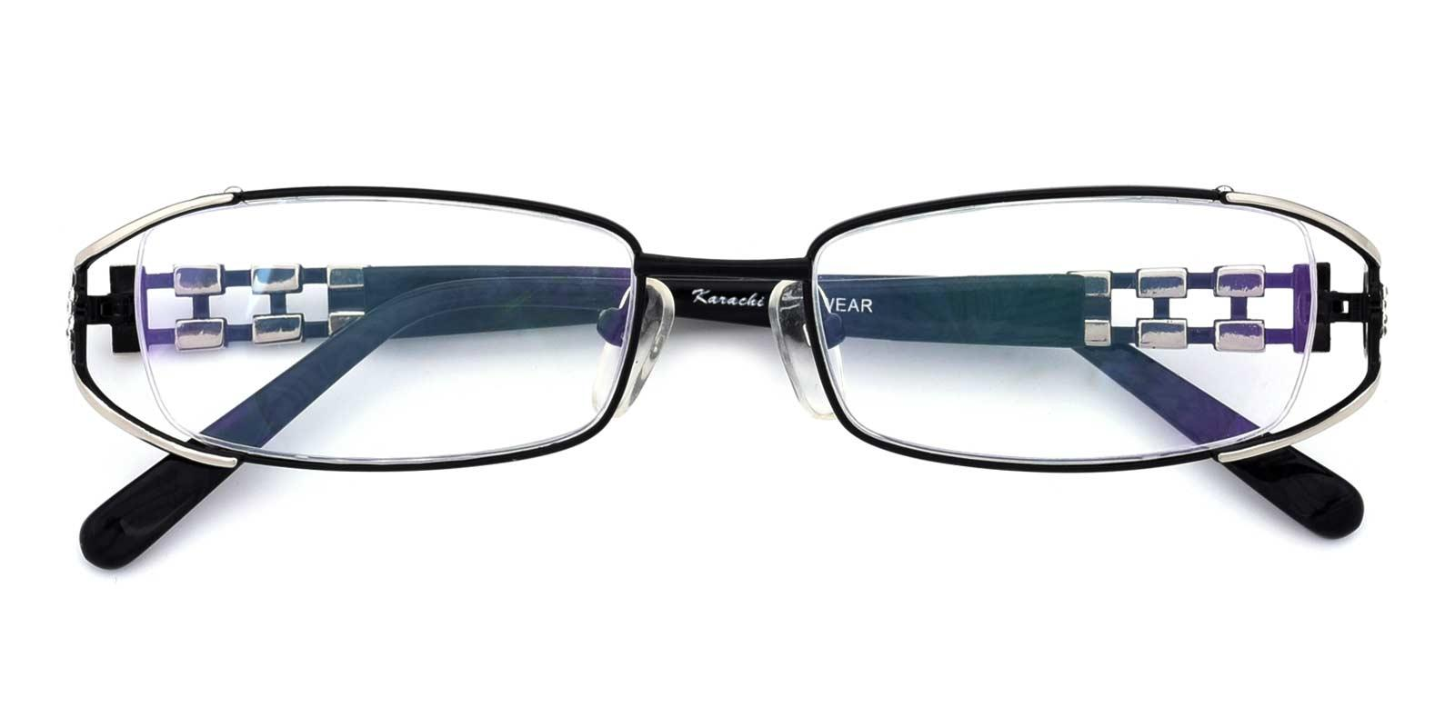 Kaki-Black-Rectangle-Metal-Eyeglasses-detail