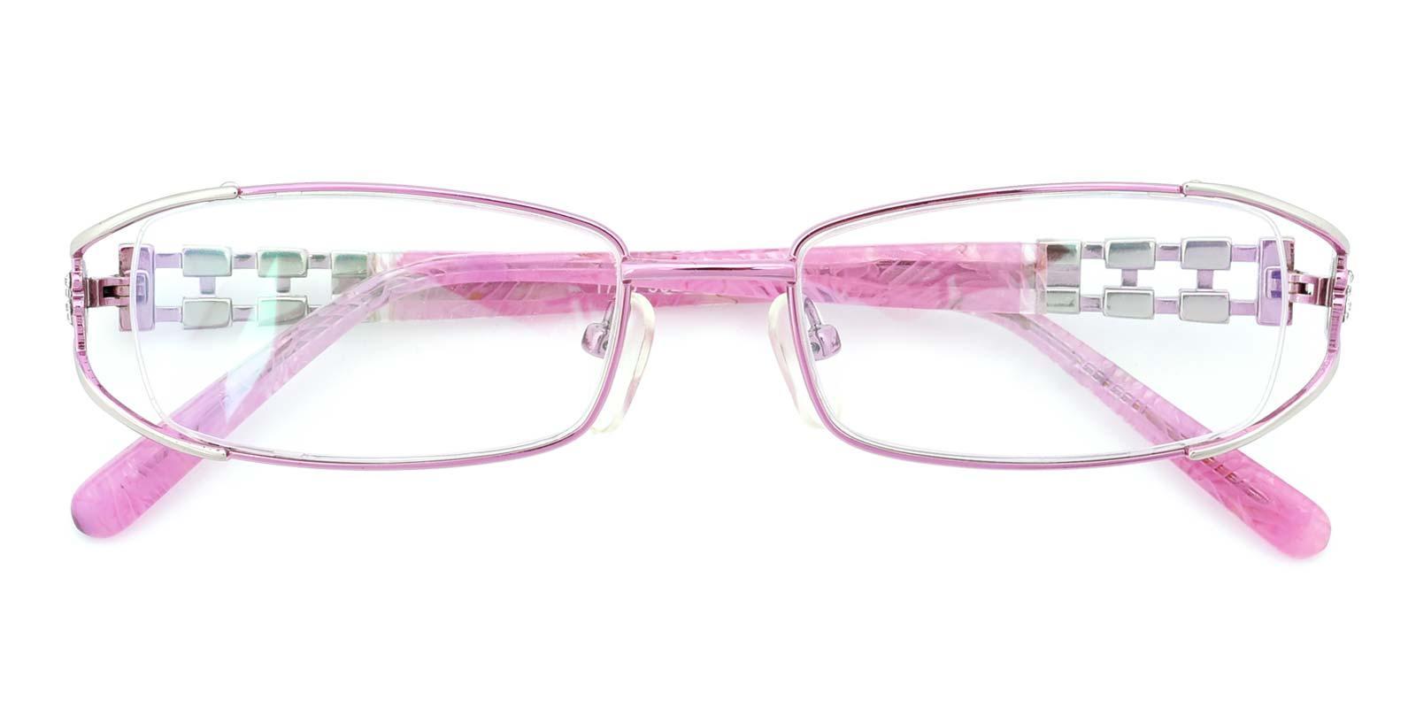 Kaki-Pink-Rectangle-Metal-Eyeglasses-detail
