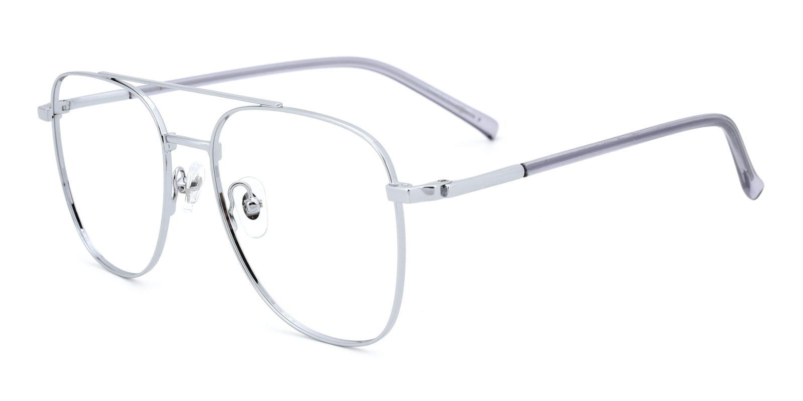 Defender-Silver-Aviator / Square-Metal-Eyeglasses-detail