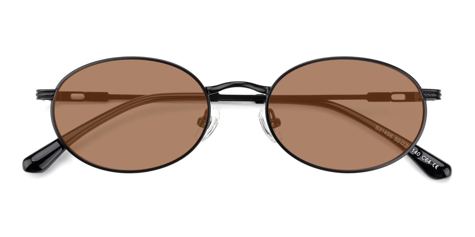 Bella-Black-Oval-Metal-Sunglasses-detail