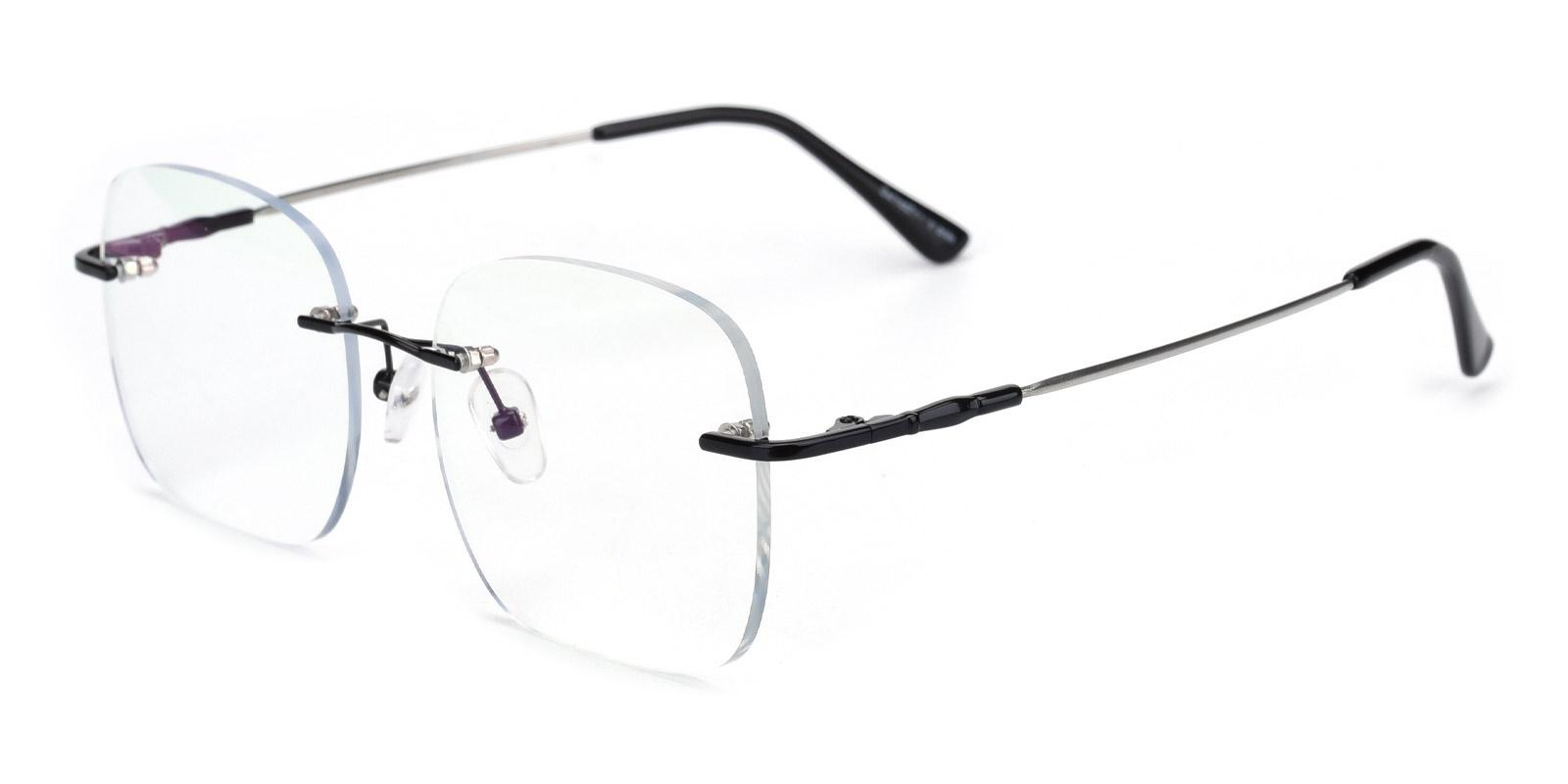 Invisibles-Black-Rectangle-Metal-Eyeglasses-detail