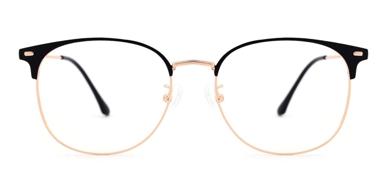 Luther-Black-Browline / Rectangle / Round-Metal-Eyeglasses-detail