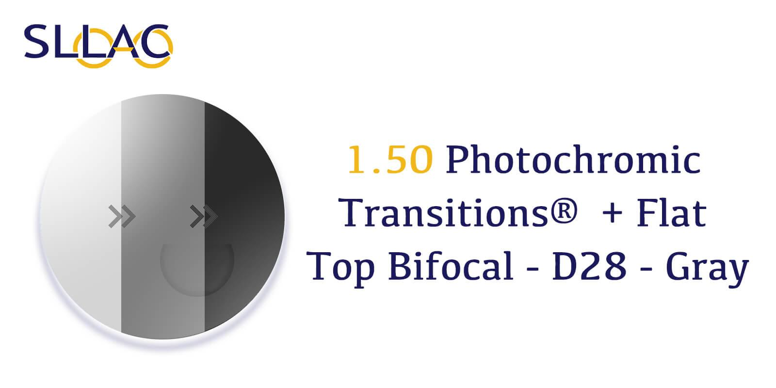 1.50 Photochromic Transitions®  + Flat Top Bifocal - D28 - Gray---detail