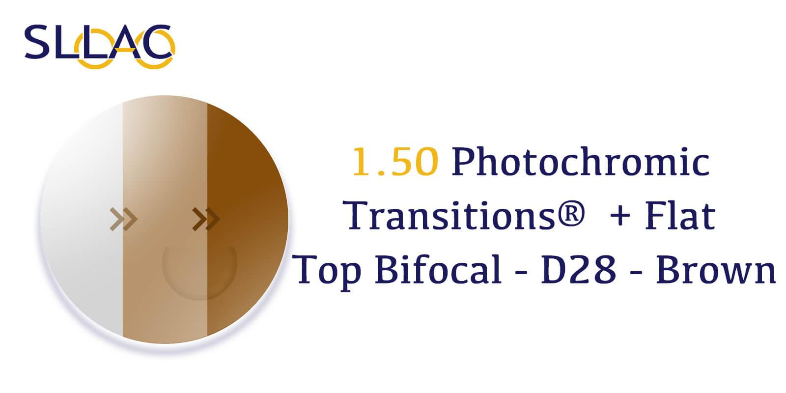 1.50 Photochromic Transitions®  + Flat Top Bifocal - D28 - Brown-Brown---Eyeglasses-detail