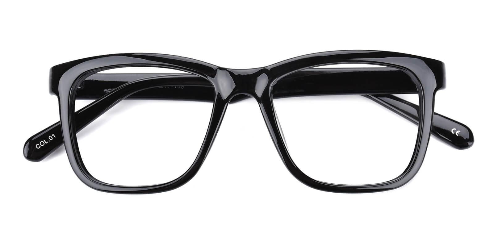 Colaan-Black-Square-Plastic-Eyeglasses-detail