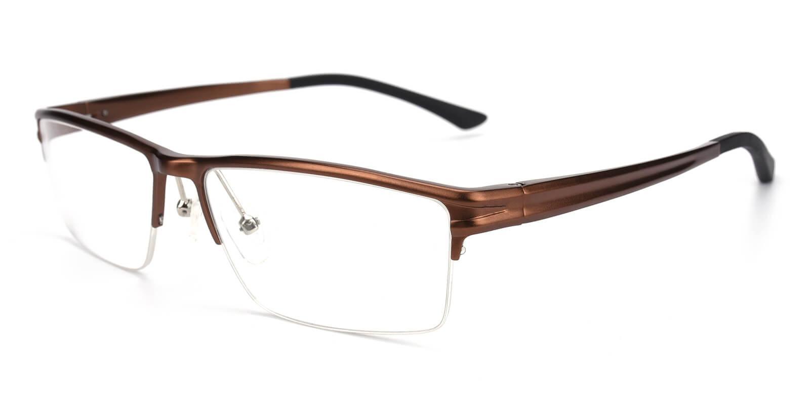 Leonado-Brown-Rectangle-Metal-Eyeglasses-additional1