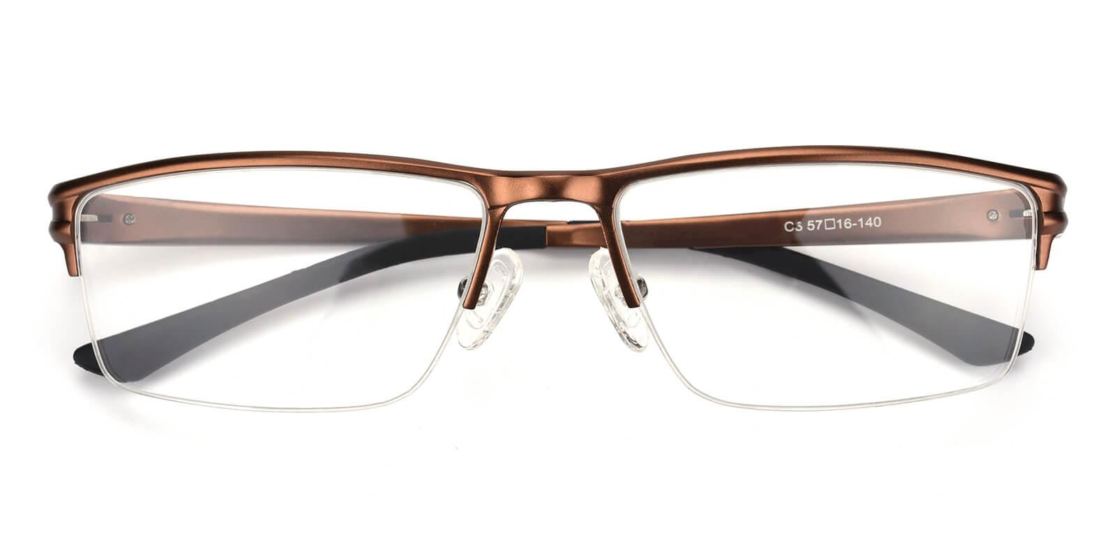 Leonado-Brown-Rectangle-Metal-Eyeglasses-detail